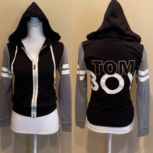Peace Love World Collegiate Hoodie Tom Boy Crop